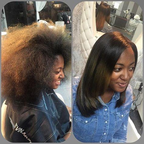 Silk press on natural hair by hairstylist LaToya Jones at (L. Jones ...