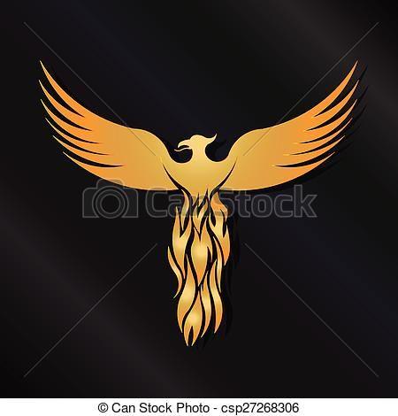 Golden Phoenix Bird Logo Vector Phoenix Vector Illustration Bird Design Symbol Wing Art Abst Bird Drawings Logo Illustration Drawing Illustrations