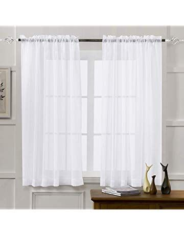 White 52 W X 63 L Window Sheer Curtain Panels For Living Room