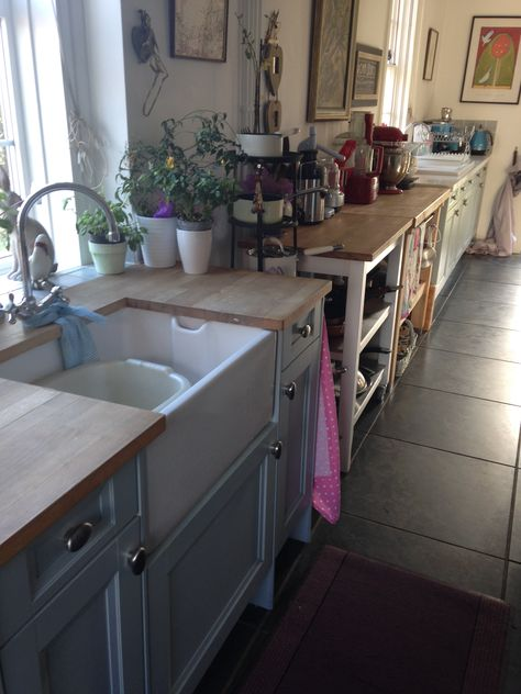 Freestanding kitchen units wooden block tops shelving 2