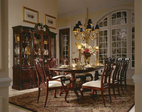 American Drew Cherry Grove 9 piece Pedestal Dining Table Set - Make your fine dining space a place friends and family will remember and long to return to by providing them with the American Drew Cherry Grove