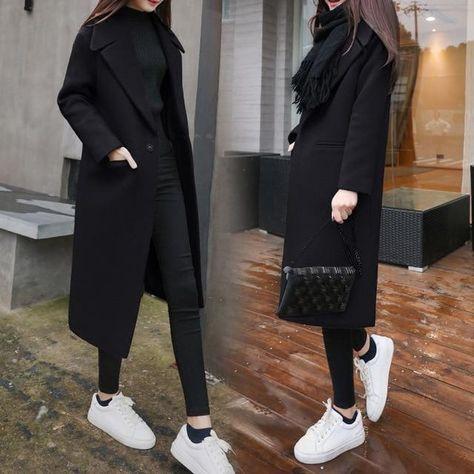 Women Winter Black Long Wool Coat Streetwear 2019 Ladies Trench Korean Fashion Female loose Clothing Windbreaker xxl Friday - Army Green S