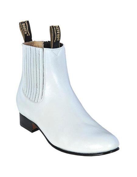 1209b5b6311 Stylish Los altos charro botin short ankle deer white leather boots ...
