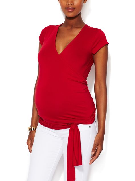 020c1debe6ed0 Short Sleeved Wrap Maternity Top by JoJo Maman Bébé at Gilt