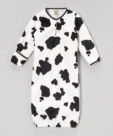 Look at this #zulilyfind! Black & White Cow Gown - Infant by My ...
