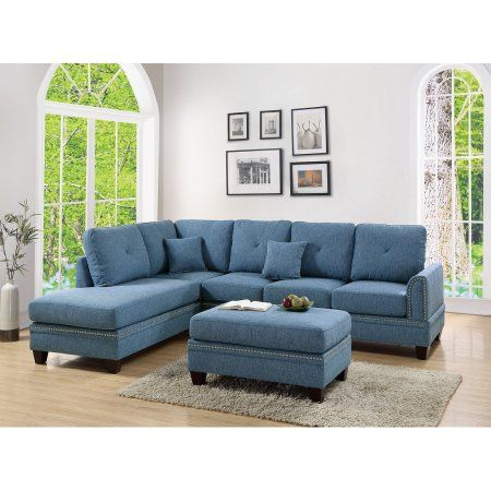 2 Pcs Sectional Sofa Blue Modern Sectional Reversible Chaise Sofa Pillows Cotton Blended Fabric Couch Living Room Furniture Walmart Com Living Room Sets Couch Fabric 3 Piece Living Room Set