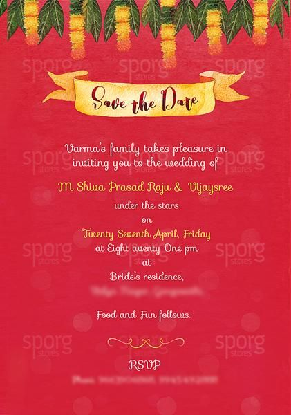 Illustrated Telugu Hindu Wedding Invitation Hindu Wedding Invitations Hindu Wedding Invitation Cards Creative Wedding Invitations