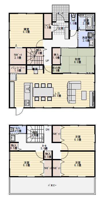 和室がリビングに隣接し1階に寝室がある間取り図 新築間取り 40坪