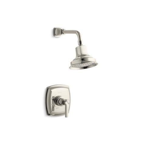 Kohler Margaux Rite Temp Shower Trim Set With Lever Handle Valve Not Included Vibrant Polished Nickel Nickel Finish Gray Shower Valve Shower Faucet Shower Heads