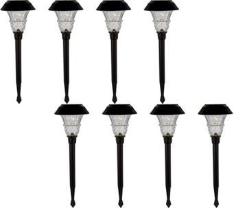 Duracell 8 Piece 10 Lumen Solar Landscape Light Set M54047 Solar Landscape Lighting Landscape Lighting Solar Pathway Lights