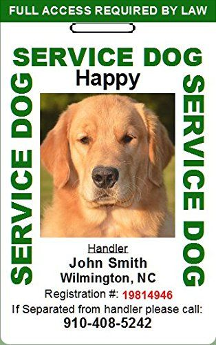 Custom Service Dog Id Card Green Read More Reviews Of The