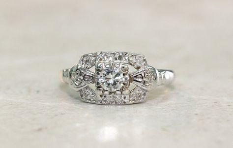 Vintage Engagement Ring Diamond Halo Ring 14k White Gold Ring Wedding Ring Estate Ring Mid Century Ring Antique Ring Size 5, $895.00