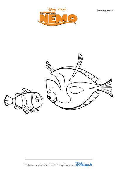 Coloriage Dory Réconforte Nemo Coloriages Pour Les Enfants