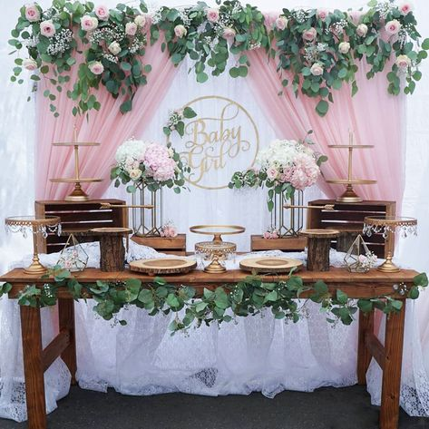 40 Best Baby Shower Ideas To Celebrate Mother Candidate 2019 Page 16 of 42 Boho Baby Shower, Baby Shower Floral, Cute Baby Shower Ideas, Baby Girl Shower Themes, Girl Baby Shower Decorations, Beautiful Baby Shower, Baby Shower Gender Reveal, Baby Shower Backdrop, Birthday Table Decorations