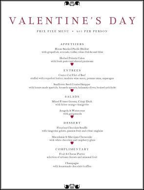 Special Occassion Menus Valentines Day Dinner Valentine S Menu Ideas Valentine S Day Menu Ideas