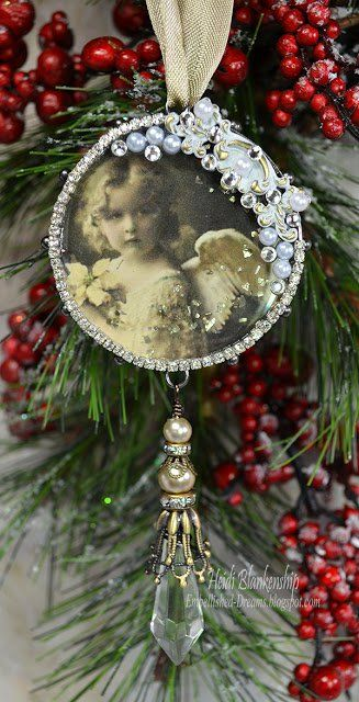 Meaningful Christmas Ornaments DIY: Crystal Pendant Family Photo Ornaments from Rook No. Vintage Christmas Crafts, Victorian Christmas Ornaments, Vintage Ornaments, Christmas Angels, Christmas Projects, Holiday Crafts, Christmas Holidays, Christmas Gifts, Christmas Villages