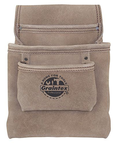 bfbec1caad35 Graintex SS2048 3 Pocket Heavy Duty Suede Leather Nail & Tool Pouch ...