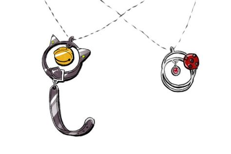 Ladybug and Chat Noir. Lovely pendant designs. Although someone commented about Chat having a bell for brains... (Miraculous Ladybug)