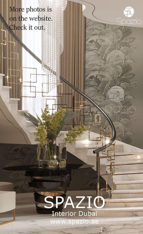Modern Villa Interior Design In Dubai 2020 Luxury House Interior Design Staircase Railing Design Stairway Design