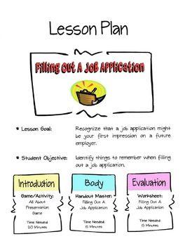 Filling Out A Job Application Lesson Job Application Entrepreneurship Lesson Plans Entrepreneurship Lesson