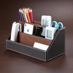 Desk Stationery Organizer Storage Box Leather Wood Leather Desk Organizer Stationery Organization Desk Stationery