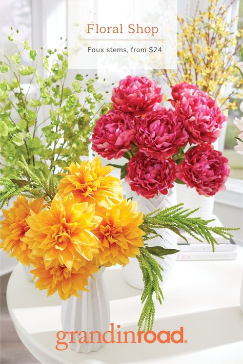 Looking or a way to say I love you or to let someone special know that you are thinking of them? Bundle our lifelike stems to create your own unique and happy display – the perfect gift. We recommend mixing colors, textures and heights to create an eye-catching look. Our faux stems and arrangements are designed to stay fresh looking season after season with absolutely no upkeep.