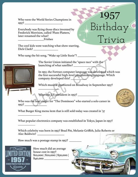 Coming Out On Top Phil Trivia Answers 1957 Year Birthday Trivia Game 60th Birthday Instant Birthday Surprise For Mom 60th Birthday Birthday Games
