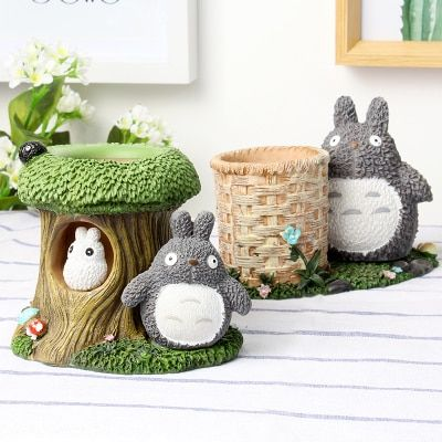 Totoro Kawaii Desk Pen Holder Cute Pencil Holder Office Desk Organizer  Stationary Holder Resin Pen Pot