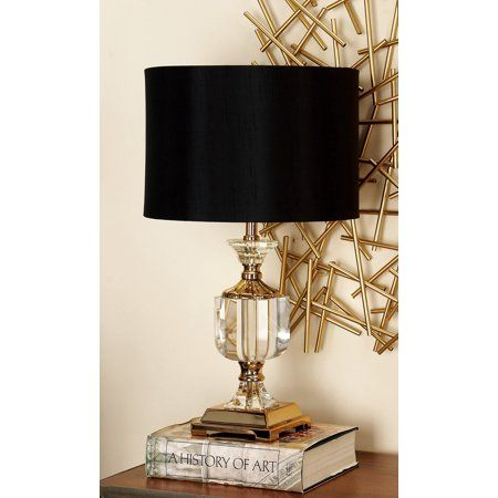 Decmode Gold Crystal Glam Table Lamp 24 Walmart Com Crystal Lamp Crystal Table Lamps Lamp