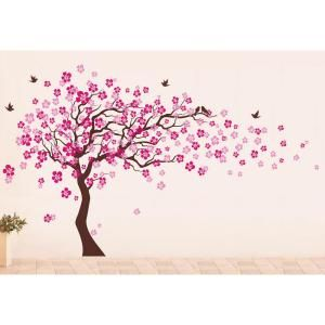 Pop Decors 144 In X 83 In Cherry Blossom Tree Removable Wall Decal Pt 0182 The Home Depot Cherry Blossom Tree Tree Mural Blossom Trees