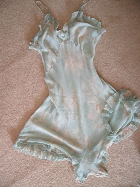 1930 s crepe sheer CAMIKNICKERS...36insbust...teal and cream..frilled