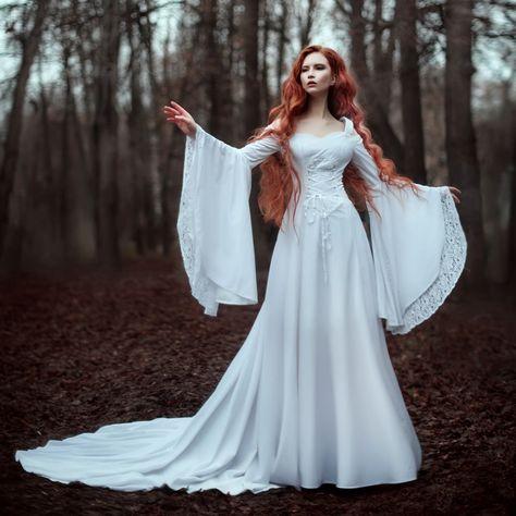 Renaissance Wedding Dresses, Fantasy Wedding Dresses, Fairy Wedding Dress, Fantasy Gowns, Fairytale Dress, Fairy Dress, White Wedding Dresses, Wedding Gowns, Wedding White
