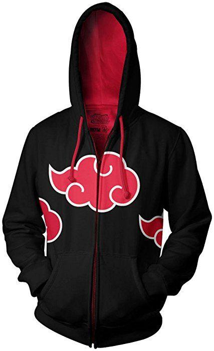 Naruto Shippuden Akatsuki Red Clouds Adult Black Zip Up Hoodie (Medium)
