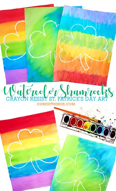 These Crayon Resist Watercolor Shamrocks are so easy and pretty! With Free Printable Shamrock Template to make creating your art even easier. Crayon Resist Watercolor Shamrocks with Printable Template