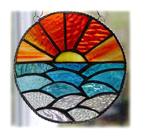 Stain Glass Window Art Blue Moon and Sun Sun Catcher