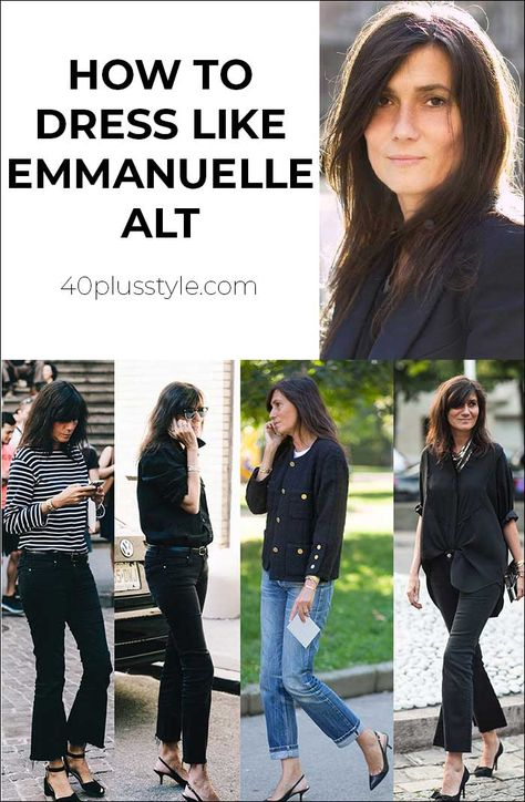 How to dress like Emmanuelle Alt Minimalist Fashion French, French Chic Fashion, Edgy Summer Fashion, Parisian Chic Style, Summer Fashion Outfits, Modern Minimalist, Fashion Tips, Emmanuelle Alt Style, French Women Style