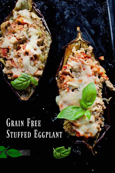 Italian Stuffed Eggplant from Spinach Tiger (Grain Free, Keto, Low-Carb, Paleo) #keto #easydinner #eggplantrecipe #italianrecipe