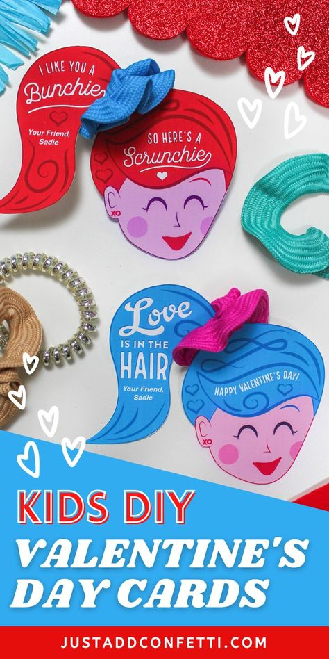 Love is in the Hair with these scrunchie Valentine's Day cards. Perfect for kids valentines for school and Valentine's Day classroom parties. These DIY printable valentine cards come in two color and wording options. So cute for girls! They are available in my Just Add Confetti Etsy shop. Just pair them with a hair scrunchie for an adorable non-candy, non-food valentine gift! Also, head to justaddconfetti.com for even more Valentine's Day ideas!