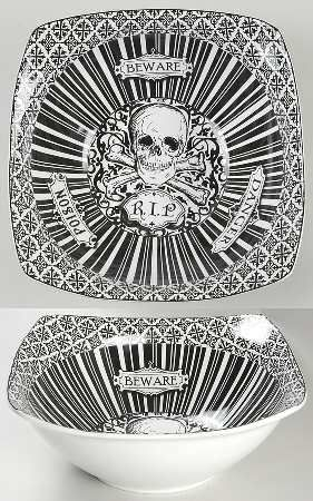 Set of 4 plates 222 Fifth SKULL Crossbones HALLOWEEN Skeleton snack plate #222Fifth | 222 Fifth china and the like | Pinterest | Dinnerware  sc 1 st  Pinterest & Set of 4 plates 222 Fifth SKULL Crossbones HALLOWEEN Skeleton snack ...