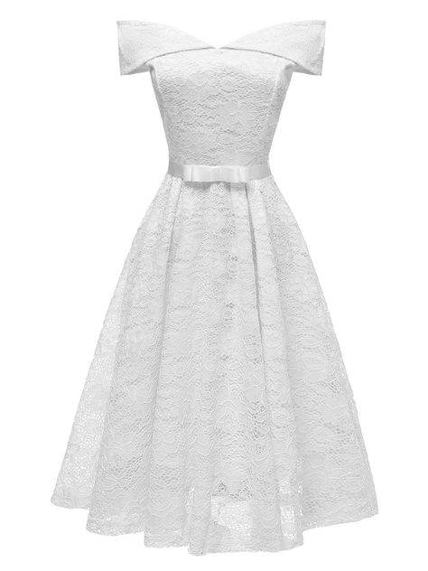 1950s Solid Color Elegant Lace With Bow Dress, White / M