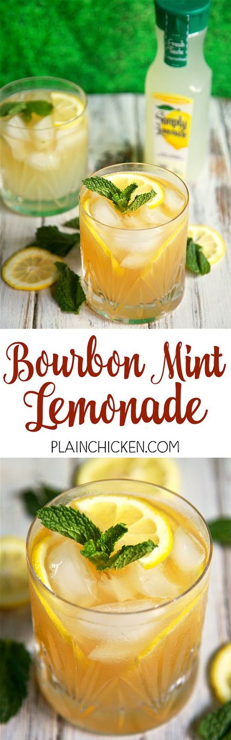 Bourbon Mint Lemonade - our Signature Summer Cocktail! Only 3 ingredients - bourbon, mint and *Crystal Light Lemonade. So light and refreshing! Mix up a pitcher for your next summer BBQ! (substitute for the Simply Lemonade to make sugar free! Summer Bbq, Summer Drinks, Summertime Drinks, Refreshing Drinks, Cheers, Beste Cocktails, Bourbon Drinks, Köstliche Desserts, Party Drinks