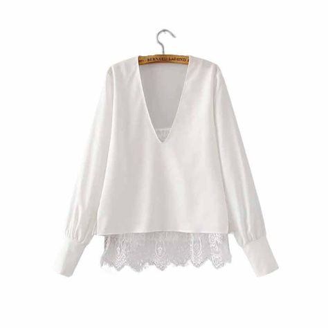 Women sweet lace patchwork two pieces V neck shirts white long sleeve loose blouse ladies casual streetwear tops blusas