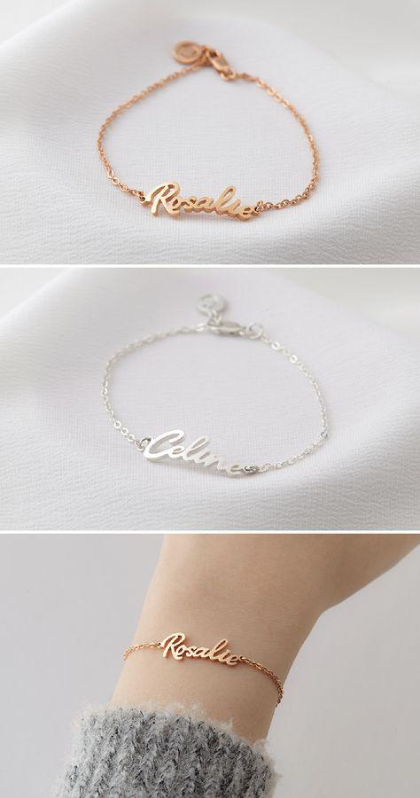 Name Bracelet Cursive Name Bracelet Bracelet With Cursive Name Personalized Bracelets