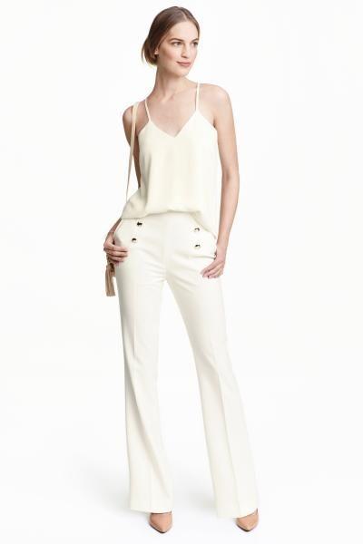 Pantalon Acampanado Blanco Mujer H M Es Pantalones Acampanados Pantalon Blanco Mujer Pantalones