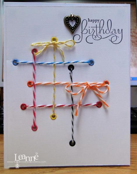 """Sweet & Simple """"Happy Birthday"""" Card...with eyelets and baker's twine...brianslan - Cards and Papers Crafts at Splitcoaststampers."""