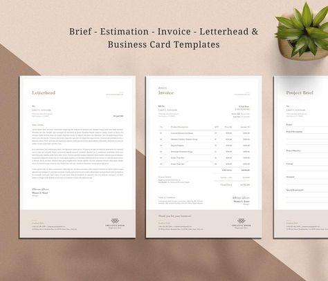 Invoice   Estimate   Business Card   Brief   Letterhead   Brand Identity   stationary