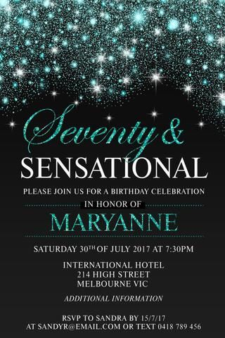 70th Birthday Party Invitation Digital Printable Template