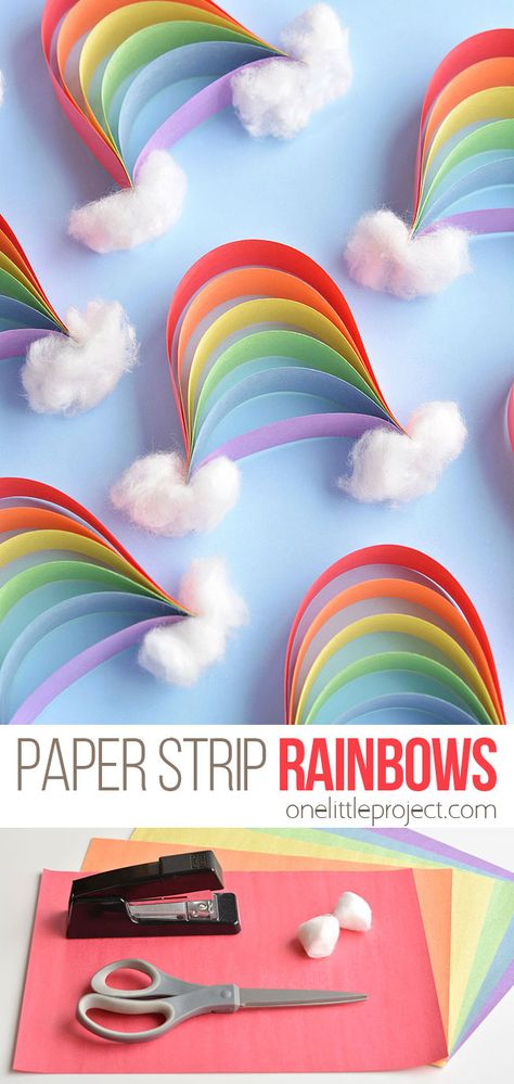 These paper strip rainbows are SO CUTE and they're really easy to make! Such a great construction paper craft and a fun craft for springtime (or any time! projects for kids How to Make Paper Strip Rainbows Paper Crafts For Kids, Crafts To Sell, Paper Crafting, Fun Crafts, Diy And Crafts, Diy Paper Crafts, Diy Crafts For Kids Easy, Kids Diy, Diy Crafts Summer