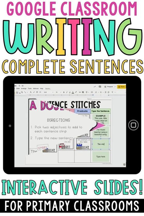 Writing Complete Sentences Digital Version for Distance Learning