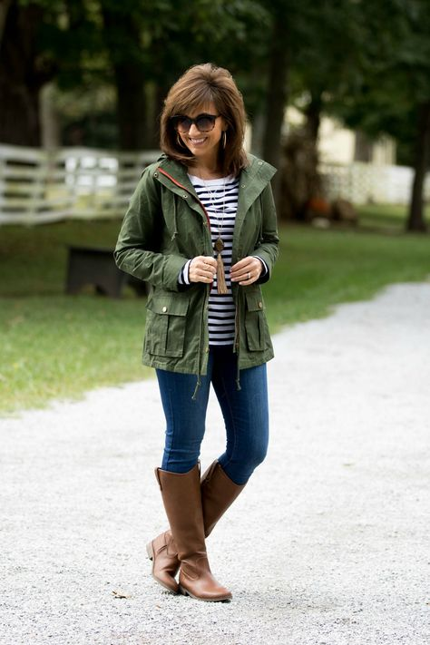 Fall fashion-military jacket with stripe tee 50 mode, mode voor mode 2
